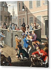 First Stage Of Cruelty, Illustration Acrylic Print by William Hogarth