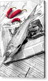 Fish And Chillies Acrylic Print by William Voon