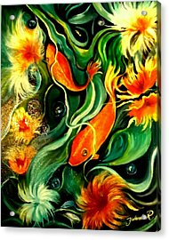 Acrylic Print featuring the painting Fish Explosion by Yolanda Rodriguez