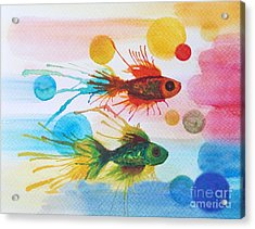 Acrylic Print featuring the painting Fish Finale by Angelique Bowman