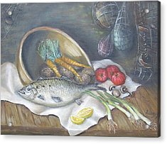 Acrylic Print featuring the painting Fish For Dinner by Katalin Luczay