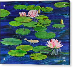 Acrylic Print featuring the painting Tranquil Pond by Mary Scott