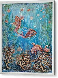 Acrylic Print featuring the painting Fish In A Pond by Yolanda Rodriguez