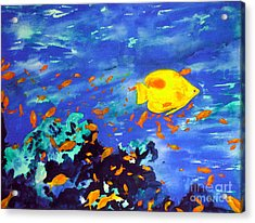 Acrylic Print featuring the painting Fish In The Sea by Mukta Gupta