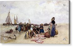 Fish Sale On The Beach  Acrylic Print by Bernardus Johannes Blommers