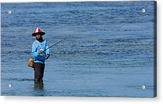 Acrylic Print featuring the photograph Fisherman - Bali by Matthew Onheiber