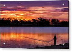 Fisherman At Sunrise Acrylic Print