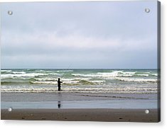 Fisherman Bracing The Weather Acrylic Print by Tikvah's Hope
