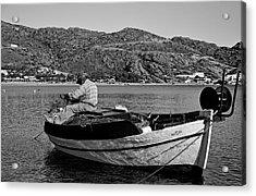 Fisherman Cleaning His Nets Acrylic Print by George Atsametakis