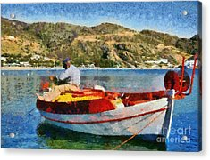 Fisherman In Ios Island Acrylic Print by George Atsametakis