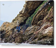 Fisherman On Rocks  Acrylic Print by Sarah Mullin