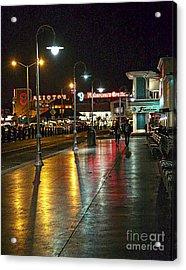 Fisherman's Wharf At Night Acrylic Print by Tina Araquistain