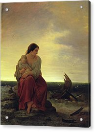 Fishermans Wife Mourning On The Beach Oil On Canvas Acrylic Print