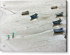 Fishermen Carrying Fish Net And Fishing Acrylic Print