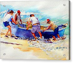 Fishermen Friendship Acrylic Print by Estela Robles