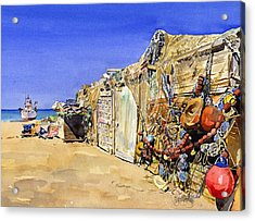Fishermen's Huts At San Miguel Acrylic Print by Margaret Merry