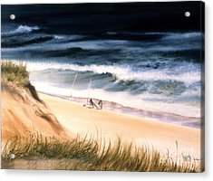 Acrylic Print featuring the painting Fishermen's Wait by Karol Wyckoff
