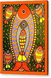 Fishes-madhubani Painting Acrylic Print