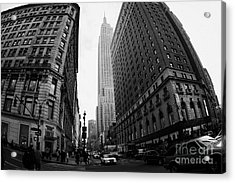 fisheye shot View of the empire state building from West 34th Street and Broadway junction Acrylic Print by Joe Fox