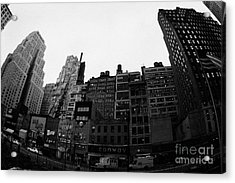 Fisheye View Of 34th Street From 1 Penn Plaza New York City Usa Acrylic Print by Joe Fox