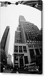 fisheye view of the Nelson Tower and 1 penn plaza in the background from junction of 34th street and Acrylic Print by Joe Fox