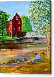 Fishin' At The Old Mill Acrylic Print