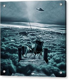 Fishing Above The Clouds Acrylic Print