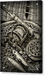 Fishing - All That Gear In Black And White Acrylic Print by Paul Ward
