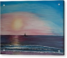 Acrylic Print featuring the painting Fishing Alone At Night by Ian Donley
