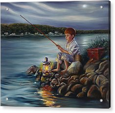 Fishing At Dusk Acrylic Print