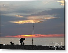 Acrylic Print featuring the photograph Fishing At Sunrise by Robert Banach