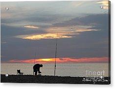 Fishing At Sunrise Acrylic Print by Robert Banach