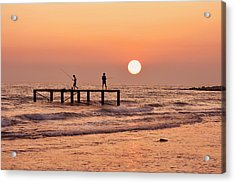 Fishing At Sunset. Acrylic Print by Alexandr  Malyshev
