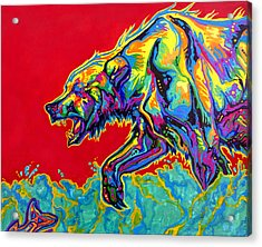 Fishing Bear Acrylic Print by Derrick Higgins