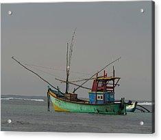 Fishing Boat At Anchor, Matara Acrylic Print by Panoramic Images