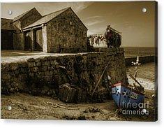 Fishing Boat At Sennen Cove  Acrylic Print by Rob Hawkins