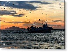 Fishing Boat At Sunset Acrylic Print by Tetyana Kokhanets