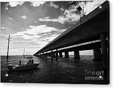 Fishing Boat Beneath New Seven Mile Bridge In Marathon In The Florida Keys Acrylic Print by Joe Fox