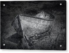 Fishing Boat On Shore In Black And White Acrylic Print by Randall Nyhof