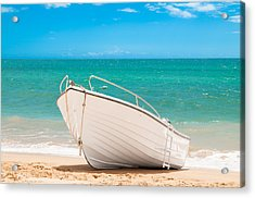 Fishing Boat On The Beach Algarve Portugal Acrylic Print by Amanda Elwell