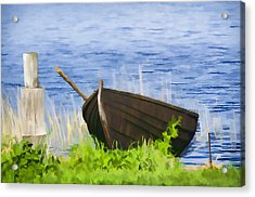 Fishing Boat On The Volga Acrylic Print by Glen Glancy