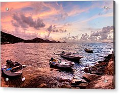 Fishing Boats At A Firey Sunset Acrylic Print by Anya Brewley Schultheiss
