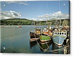 Fishing Boats At Uig Skye Scotland 1994 Acrylic Print by David Davies