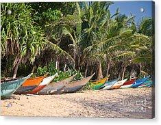 Fishing Boats B Mirissa Beach Acrylic Print by Liz Leyden