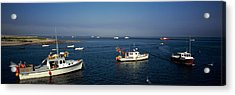 Fishing Boats In An Ocean, Cape Cod Acrylic Print by Panoramic Images