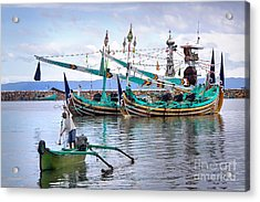 Fishing Boats In Bali Acrylic Print by Louise Heusinkveld