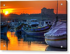 Fishing Boats In Birzebuggia Harbour Acrylic Print