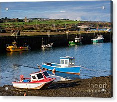 Fishing Boats In The Harbour At Hayle Acrylic Print by Louise Heusinkveld