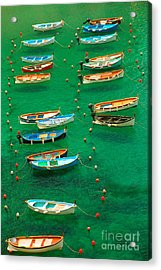 Fishing Boats In Vernazza Acrylic Print by David Smith
