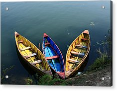 Fishing Boats - Nepal Acrylic Print by Aidan Moran